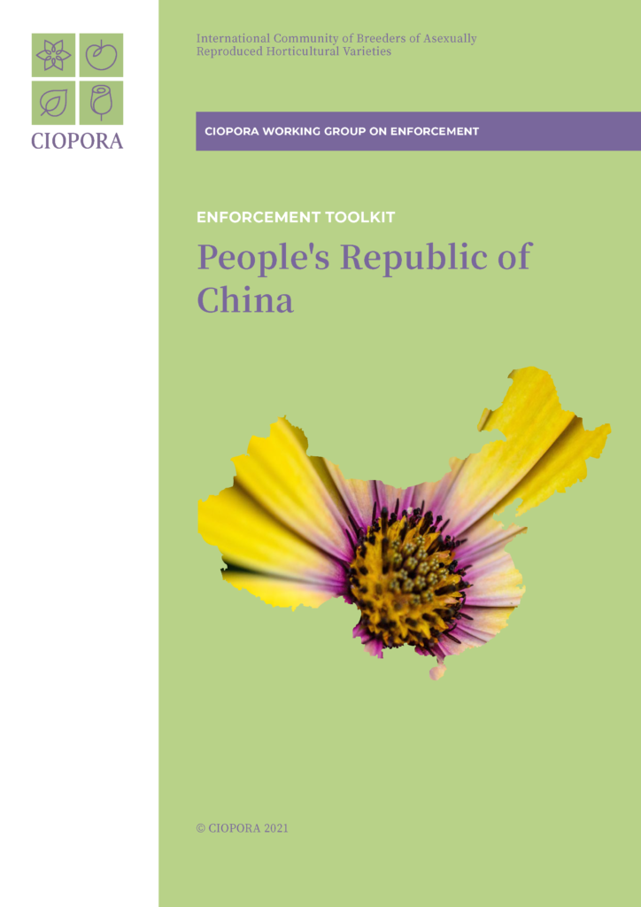 CIOPORA Enfocement Toolkit China for Plant Breeders' Rights and Trademarks