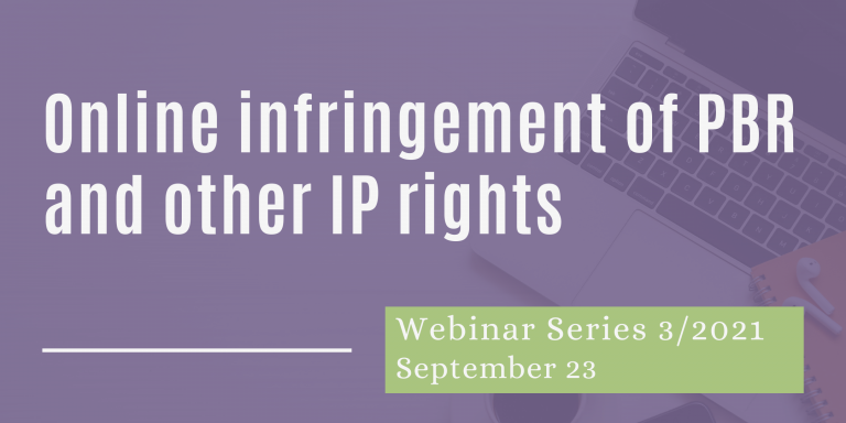 Webinar Online Infringements of PBR and other IP rights